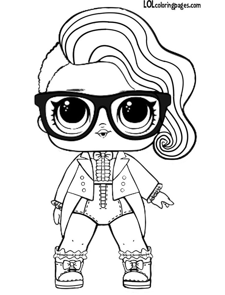 LOL Doll Black Tie Coloring Page – LOL Surprise Doll Coloring Pages