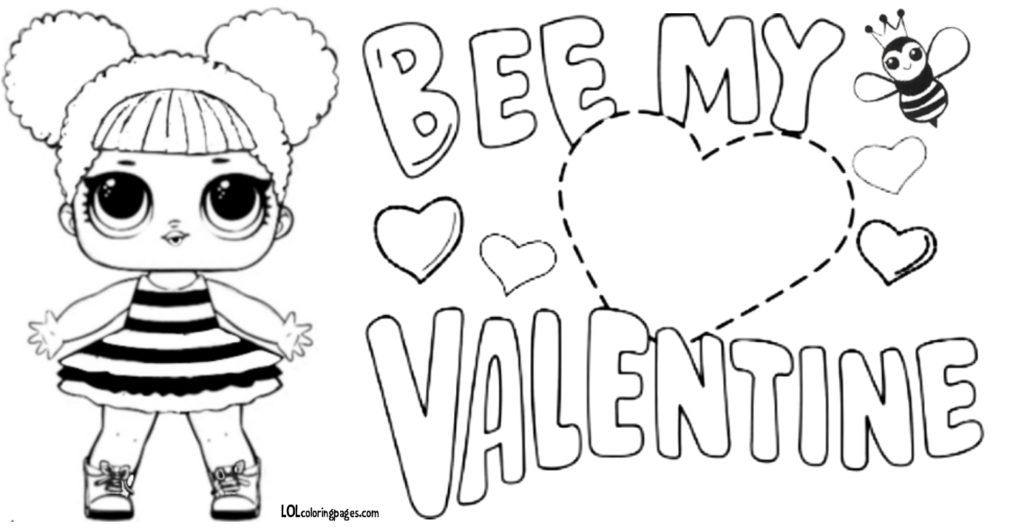 Queen Bee Valentine Coloring Page – LOL Surprise Doll Coloring Pages