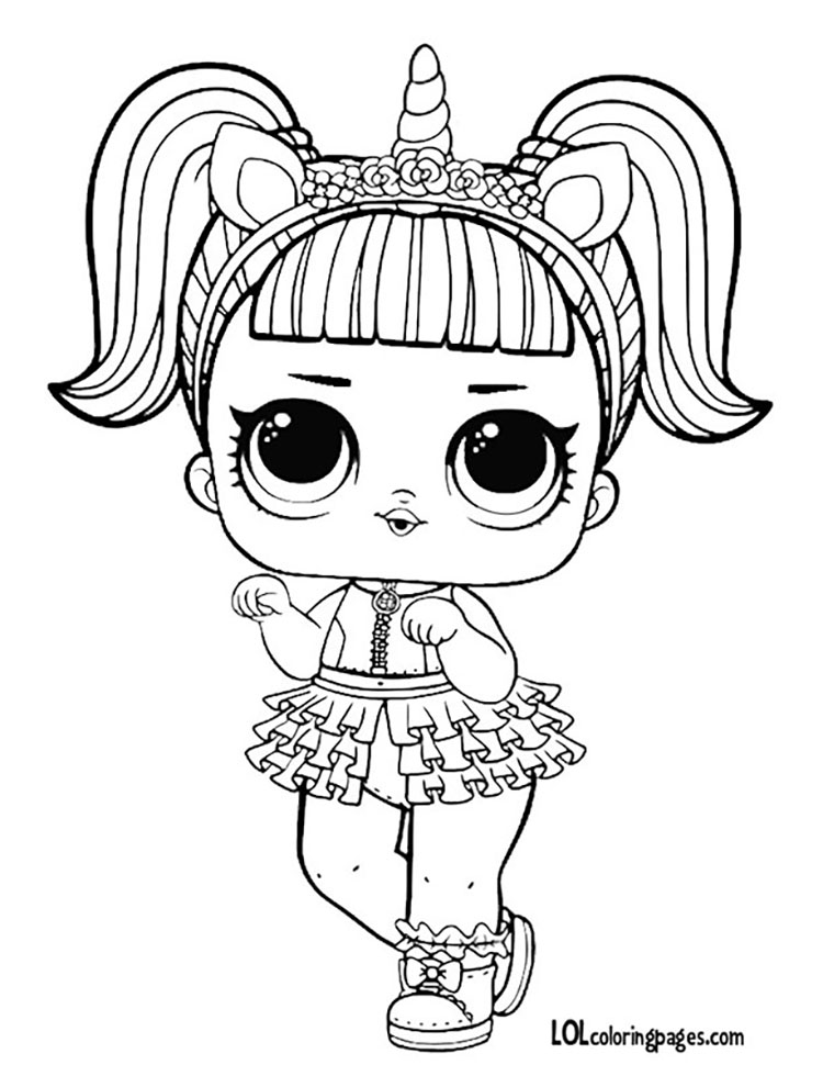 Coloring Pages Disney Lol : Unicorn l o surprise doll coloring page lol